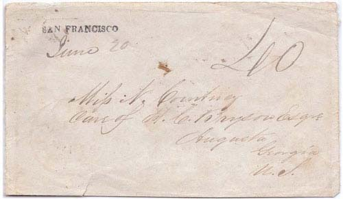 San Francisco June 20 (1849) Straight Line Postmark