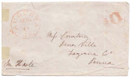 Turned Cover Postmarked Augusta, Ga Aug 17