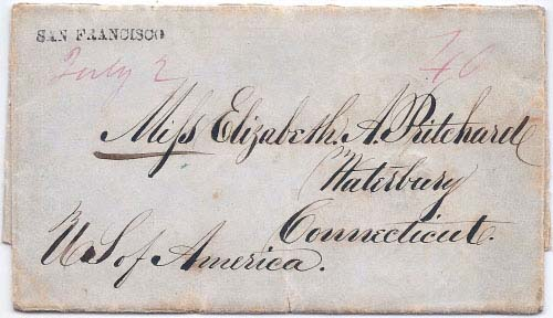 San Francisco July 2 (1849) Straight Line Postmark