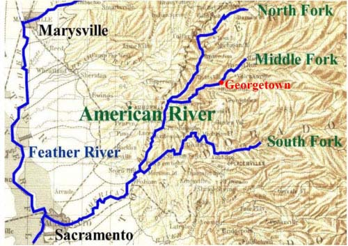 Map of American and Feather Rivers