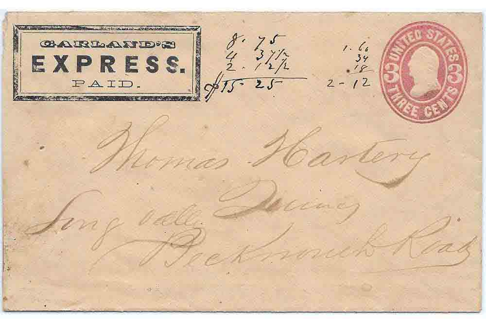 Garland's Express PAID Franked Envelope to Quincy