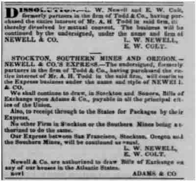 San Francisco Daily Alta California Nov 10, 1851 notice