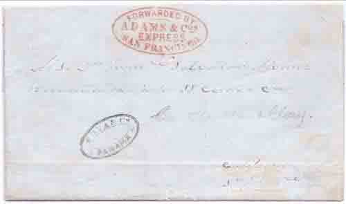 Adams & Co.'s Express San Francisco from Panama with Cova & Co. Panama marking to San Francisco
