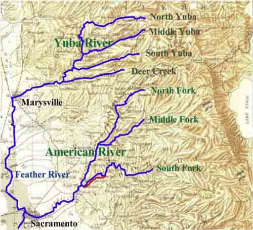 Map of Yuba and Feather Rivers