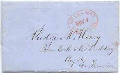 Adams & Co. Nov 9 Nevada on folded letter datelined Nov 8, 1853 to San Francisco