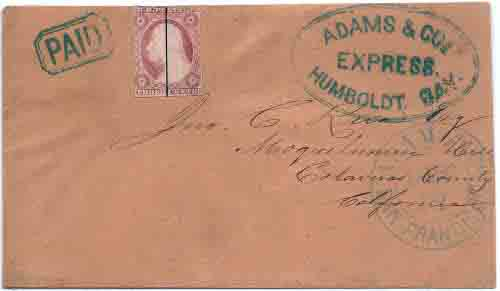 Adams & Co. Humboldt Bay with PAID handstamp via steamer to Adams & Co. San Francisco Dec 12