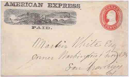 American Express PAID in their printed franked envelope from an unknown origin to San Francisco