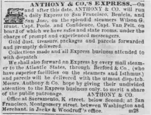 Sacramento Daily Union ad run from Apr 8 to Jun 15, 1853