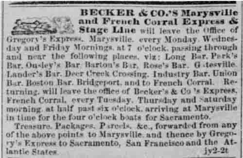 Earliest ad for Becker & Co.'s Express from the Sacramento Daily Union, Jul 2, 1852.