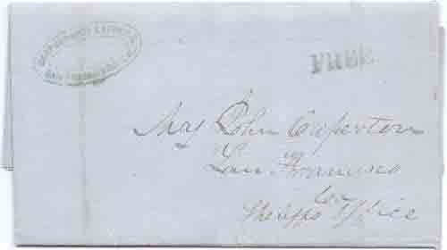 Berford & Coş Express San Francisco Cal blue handstamp and Free. Letter