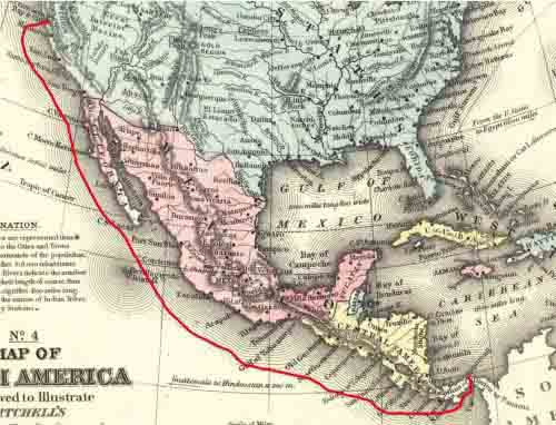 Route Map of PMSC Golden Gate from Panama Feb 5; arrival San Francisco Feb 19, 1853