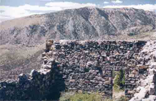 Treasure City was founded in 1868 was destroyed by fire in 1874 and never rebuilt. The remaining ruins are shown.