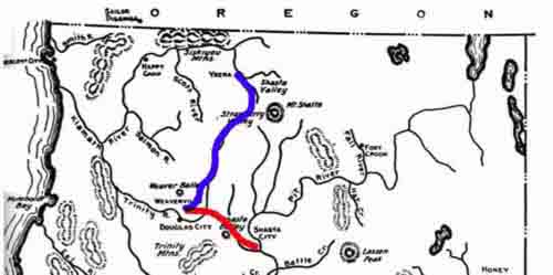Route Map Shasta to Weaverville; Weaverville to Yreka