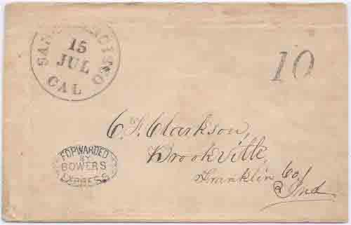 Bowers Express with enclosed letter datelined Nevada (City) July 11, 1851 to San Francisco