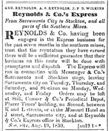 Reynolds & Co's advertisement from Aug 19, 1850 Sacramento Transcript