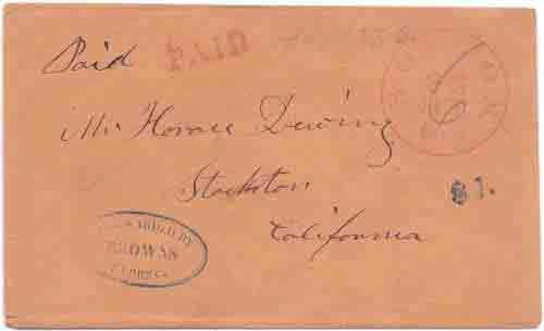 Boston/25 Jul/6cts 1851 prepaid forwarded by/Browns/Express from Stockton