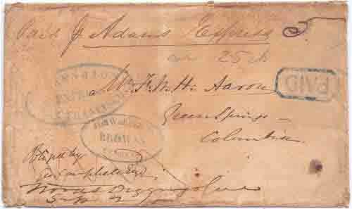 Forwarded by Brown's Express from Stockton to Woods Diggings with Brown's PAID handstamp