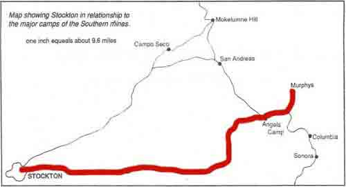 Map showing Stockton in relationship to major camps of the Southern mines.