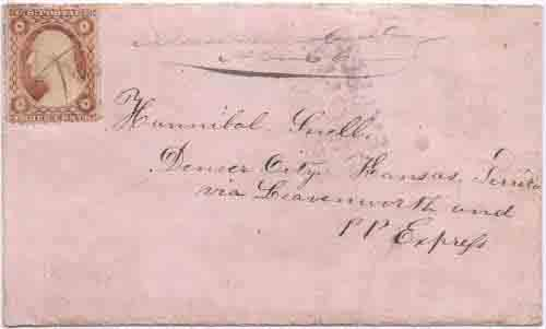 COC&PP with a partial strike of their provisional straight-line DENVER CENTRAL OVERD. CAL. & PIKES PEAK EXPRESS marking to Denver City, Kansas Territory