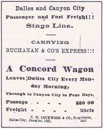 Buchanan & Co.'s Express ad from The Dalles Mountaineer Jun 29, 1867.