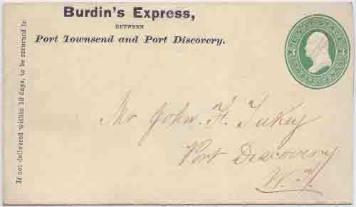 Burdin's Express Between Port Townsend and Port Discovery in their printed franked envelope