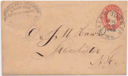 The Central Overland Califoni & Pikes Peak Express Company Denver City K.T. Aug 21 (1860) to St. Joseph