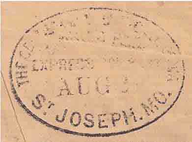 COC&PP St. Joseph, Mo. Aug 27 backstamp