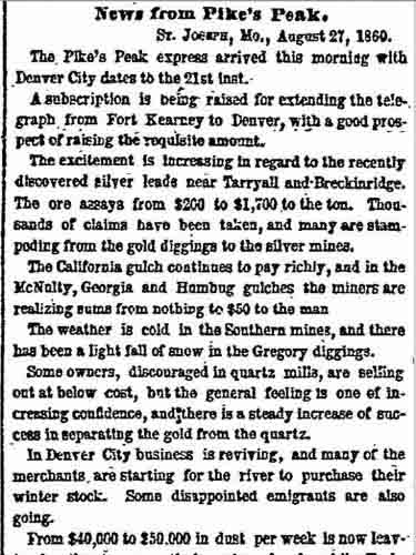 New York Herald (Aug 28, 1860) article from St. Joseph, Mo.