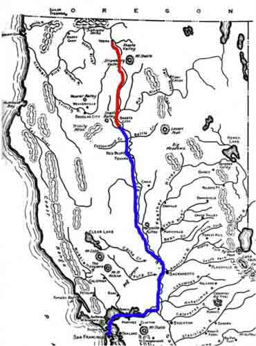Map of routes from San Francisco to Shasta City to Yreka