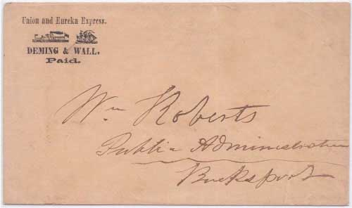 Deming & Wall, Paid in their printed frank envelope from Union to Bucksport