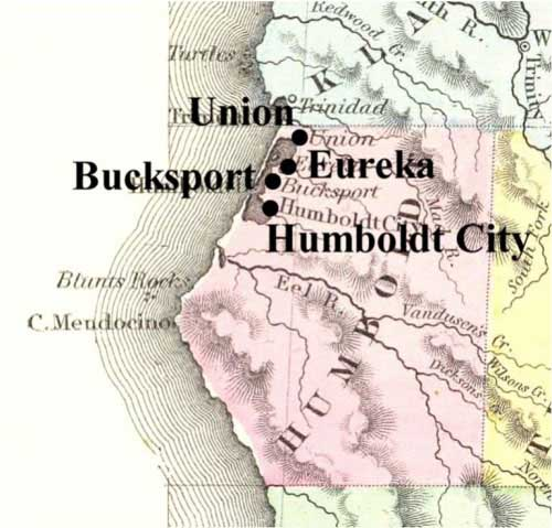 Map of towns served by Deming and Wall on Humboldt Bay