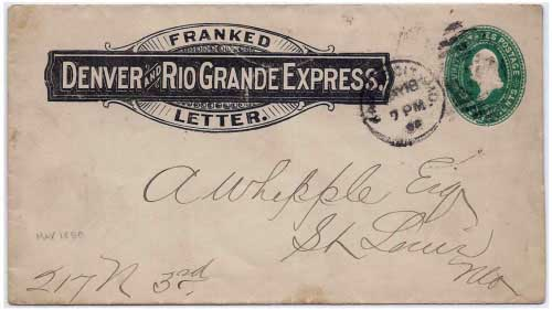 Denver and Rio Grande Express Franked Letter to Kansas City