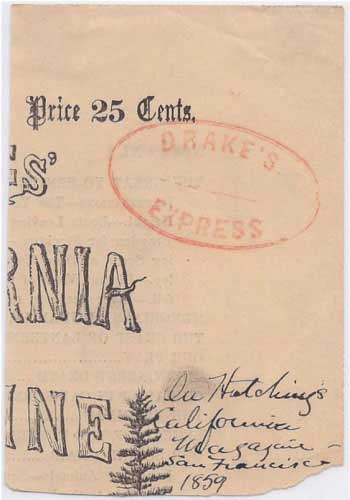Drake's Express marking in red on piece of front page of Hutching's California Magazine
