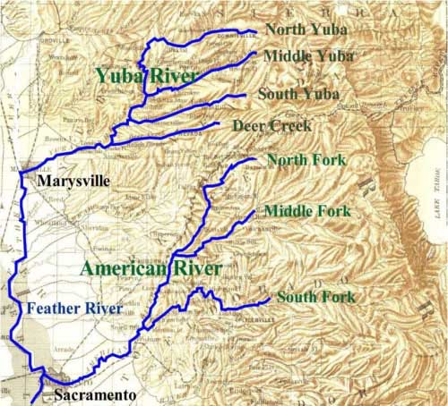 Map of the American River