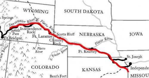 Route between Weston, Missouri and Oskaloosa, Iowa