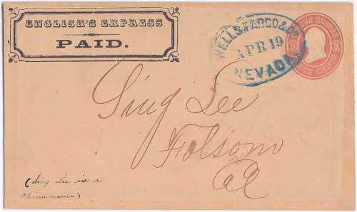 English's Express PAID in their franked envelope to Nevada