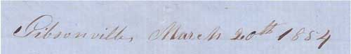 Dateliened Gibsonville, March 20th, 1854