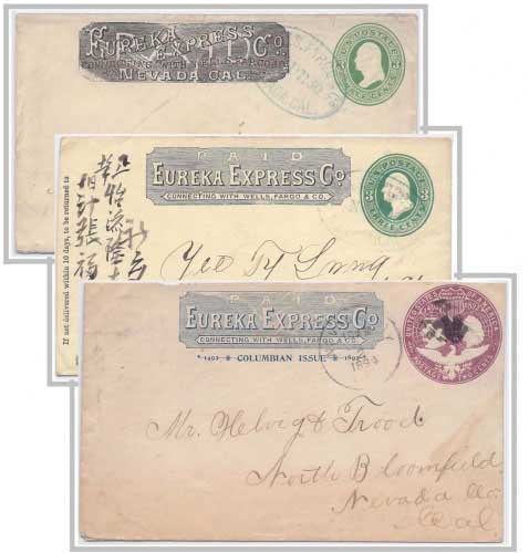 PAID Eureka Express Co. their Types of franked envelopes