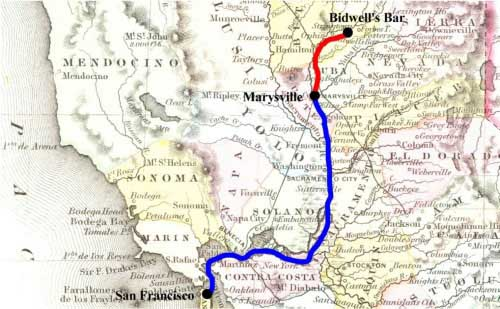 Adams route to Marysville in blue and Everts & Co's route to Bidwell's Bar in red