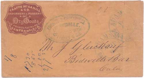 Everts & Cos. Express Marysville Connecting with Adams & Co. handstamp known used in 1854-1855