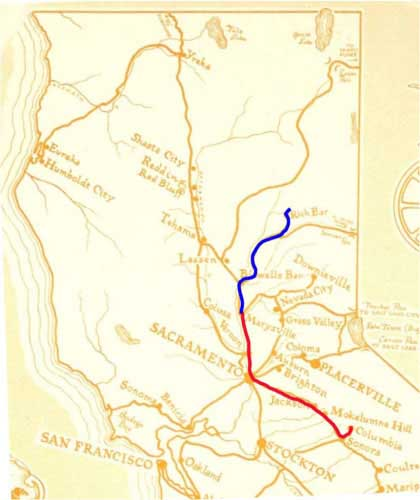 Adams carriage in red from Columbia to Marysville; Everts in blue from Marysville to Nelson Creek.