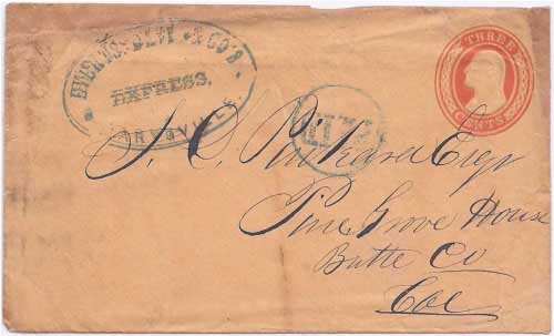 Everts, Davis & Co's. Express Marysville with PAID in circle to Pine Grove House