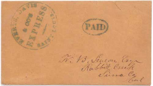 Everts, Davis & Co's Express Saint Louis with their PAID handstamp to Rabbit Creek