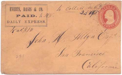Everts, Davis & Co. PAID Daily Express franked envelope to Marysville