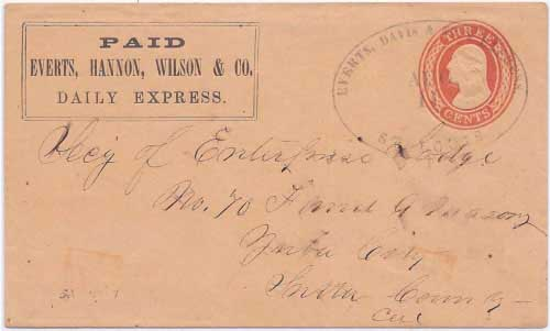 Everts, Hannon, Wilson & Co. Daily Express franked envelope with Everts, Davis & Cos. Express St. Louis Aug 11 (1856) to Yuba City