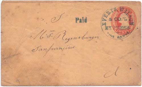 Everts, Wilson & Co. Daily Express Pine Grove with their Paid handstamp to San Francisco