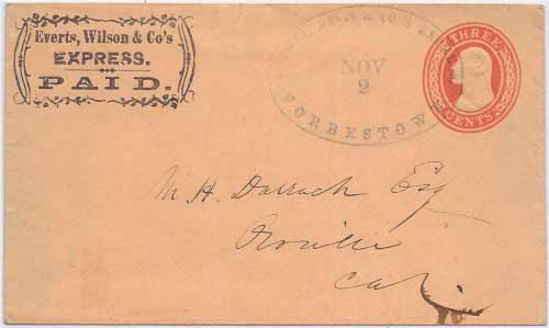 Everts, Wilson & Co's Express. PAID. frank with defunct Everts, Davis & Co's. Express Forbestown Nov 2 handstamp to Oroville