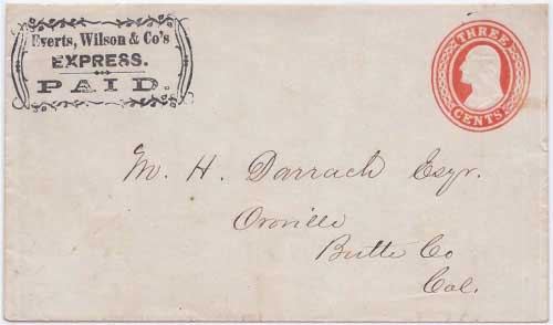 Everts, Wilson & Co's Express. PAID. frank to Oroville