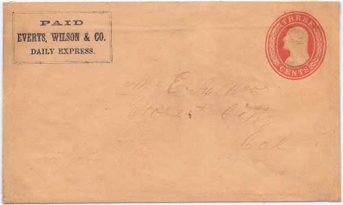 PAID Everts, Wilson & Co. Daily Express. in their franked envelope to Forest City
