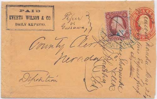 PAID Everts Wilson & Co. Daily Express. in their franked envelope to Marysville